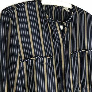 Tops - Silk Blouse, Navy and Dark Gold stripe